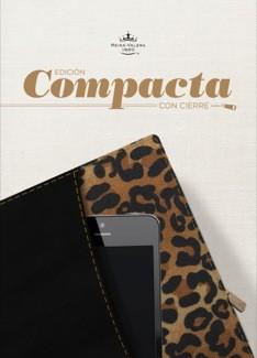 RVR 1960 Biblia, Edición Compacta con cierre, negro/leopardo