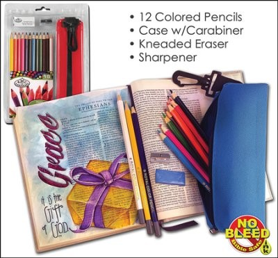 Coloured Pencil Set (12 pencils w/ Sharpener, Eraser & Case) (Kit)