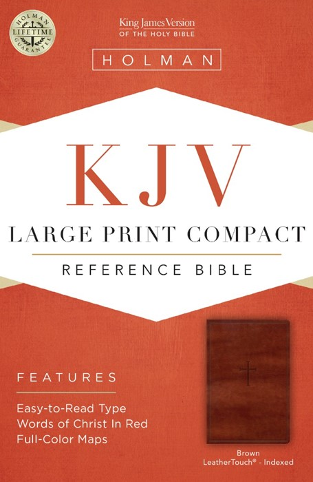KJV Large Print Compact Reference Bible, Brown Cross Leather (Leather Binding)