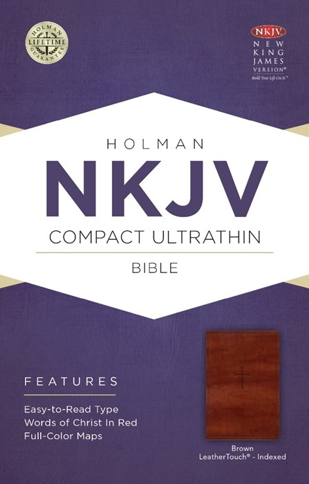 NKJV Compact Ultrathin Bible, Brown Cross, Indexed (Imitation Leather)