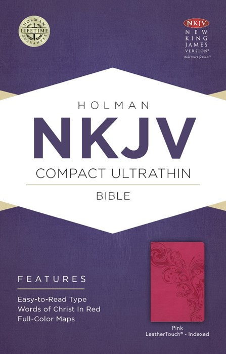 NKJV Compact Ultrathin Bible, Pink Leathertouch, Indexed
