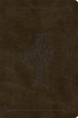 ESV Large Print Bible (TruTone, Olive, Celtic Cross Design) (Leather Binding)