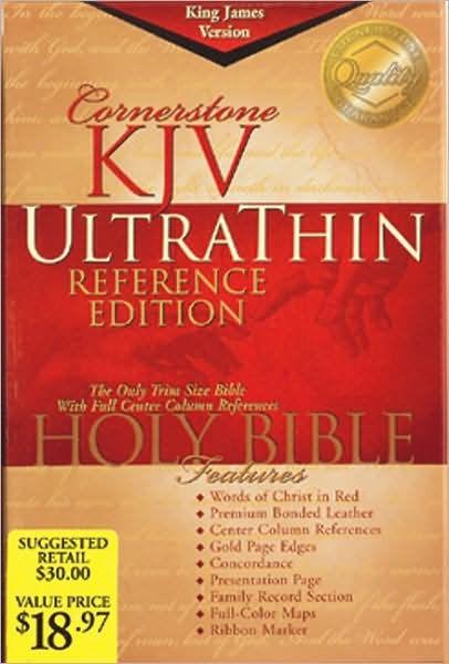 KJV Cornerstone Ultrathin Reference Bible, Burgundy (Bonded Leather)