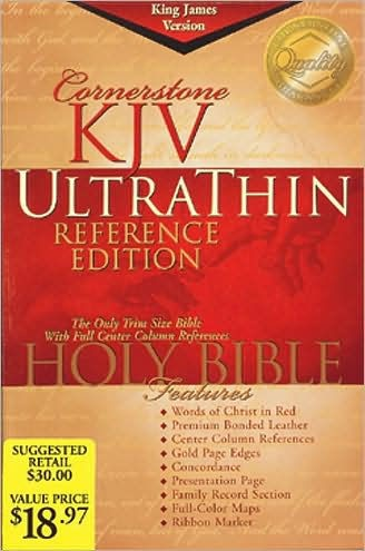 KJV Cornerstone Ultrathin Reference Bible, Black (Bonded Leather)