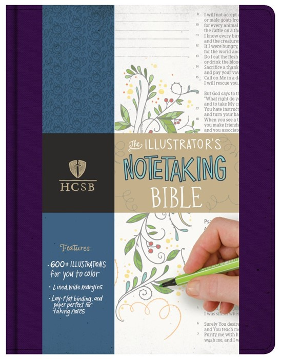 HCSB Illustrator's Notetaking Bible, Purple Linen (Imitation Leather)