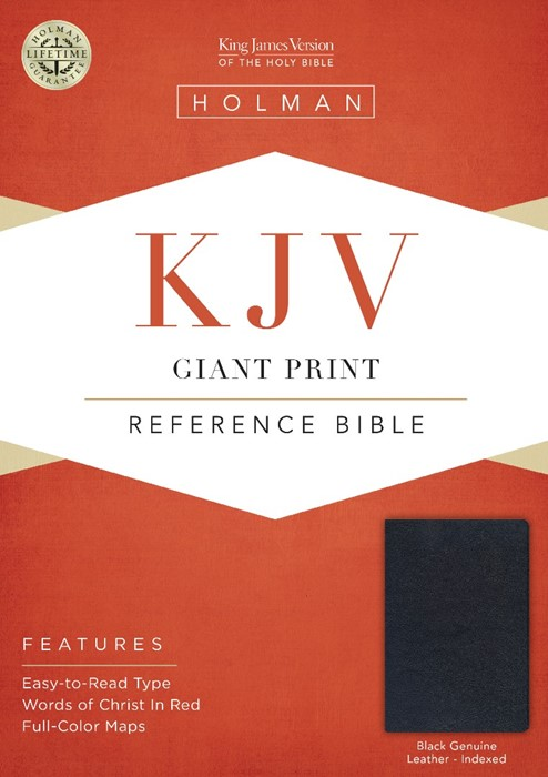 KJV Giant Print Reference Bible, Black, Indexed (Leather Binding)