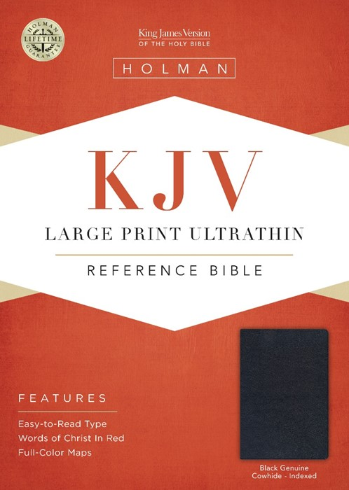 KJV Large Print Ultrathin Reference Bible, Black Genuine (Genuine Leather)