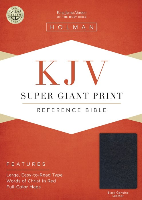 KJV Super Giant Print Reference Bible, Black Genuine Leather (Leather Binding)