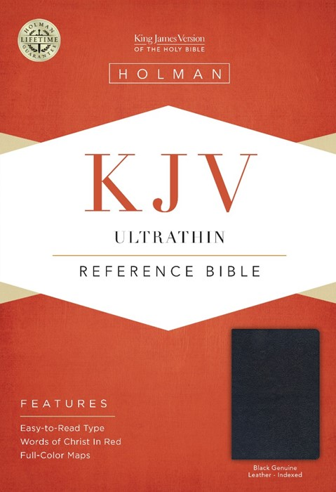 KJV Ultrathin Reference Bible, Black Genuine Leather Indexed (Leather Binding)