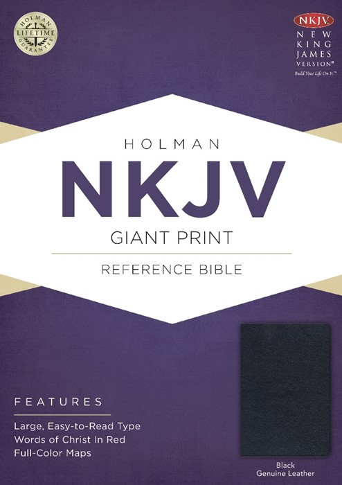 NKJV Giant Print Reference Bible, Black Genuine Leather (Leather Binding)