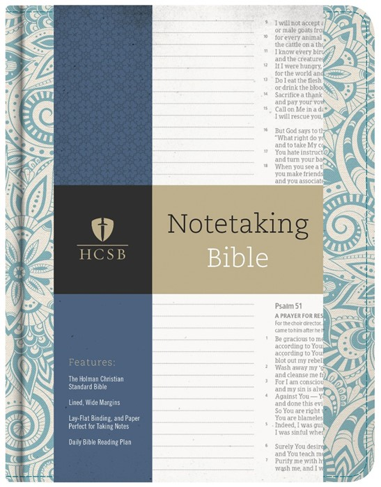 HCSB Notetaking Bible, Blue Floral (Cloth-Bound)