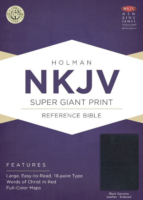 NKJV Super Giant Print Reference Bible, Black (Leather Binding)