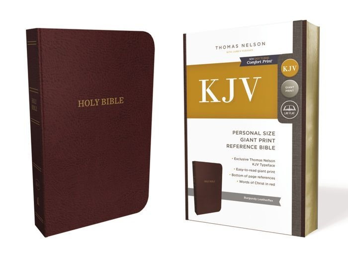 KJV Reference Bible, Burgundy, Personal Size Giant Print (Leather-Look)