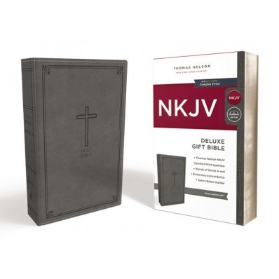 NKJV Deluxe Gift Bible, Gray, Red Letter Ed. (Imitation Leather)
