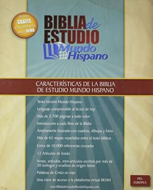 Biblia De Esudio Mundo Hispano (Leather Binding)