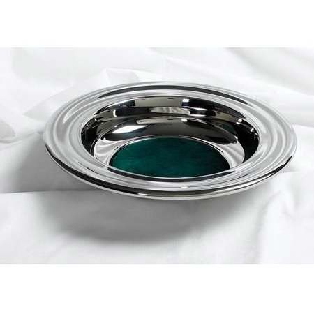Silver Offering Plate With Green Felt