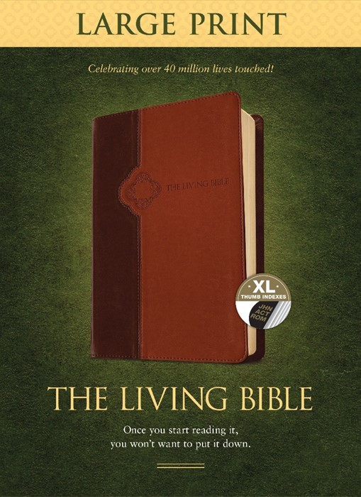 Living Bible Large Print Edition Brown/Tan, Indexed (Imitation Leather)