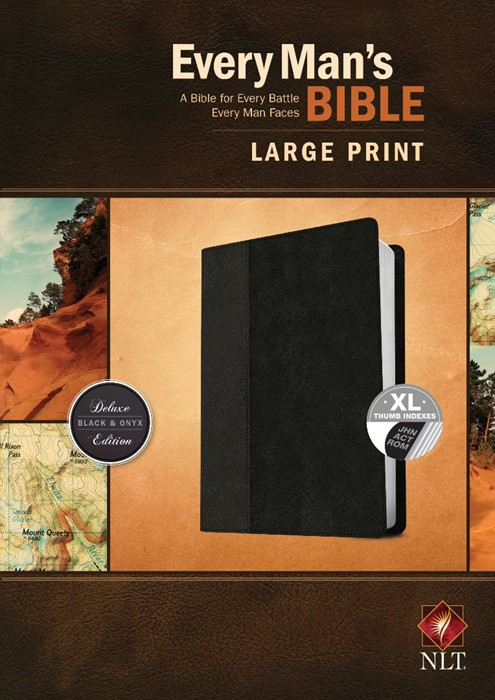 NLT Every Man's Bible, Large Print, Black/Onyx, Indexed (Imitation Leather)