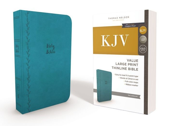 KJV Value Thinline Bible, Blue, Large Print, Red Letter Ed. (Imitation Leather)