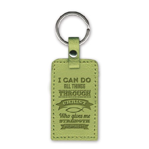 Leather Keychain I Can Do All Things (Keyring)
