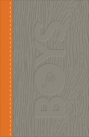 CSB Study Bible For Boys Charcoal/Orange, Wood Design