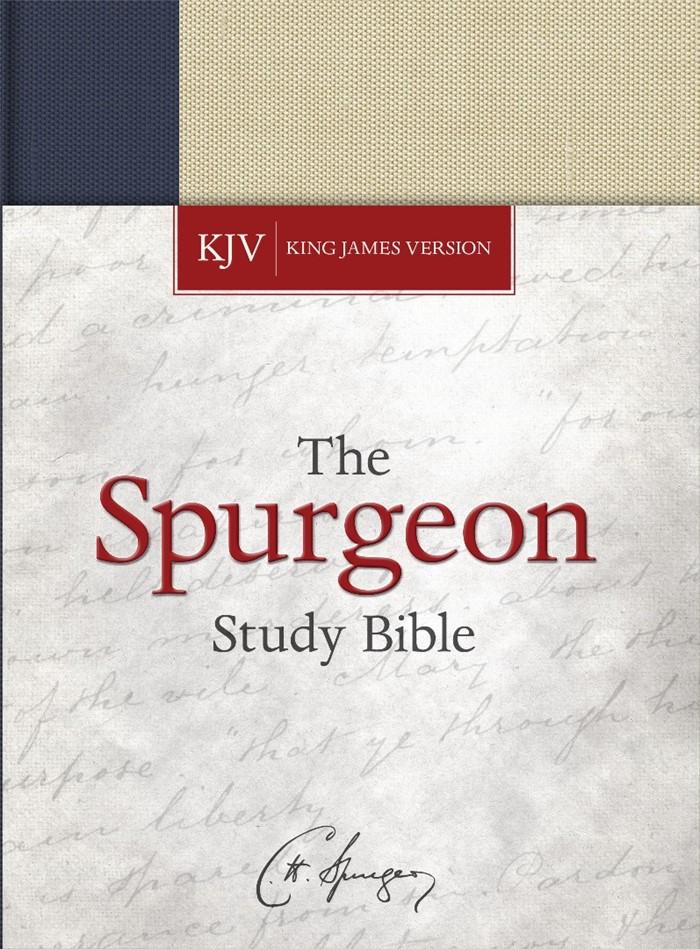 KJV Spurgeon Study Bible, Navy/Tan Cloth-over-Board