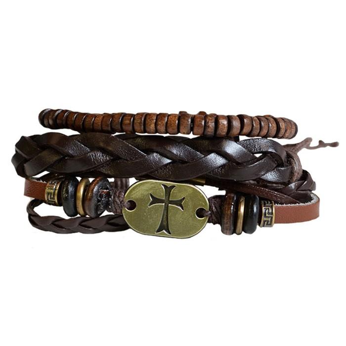 Faith Gear Guy's Bracelet - Gold Cross