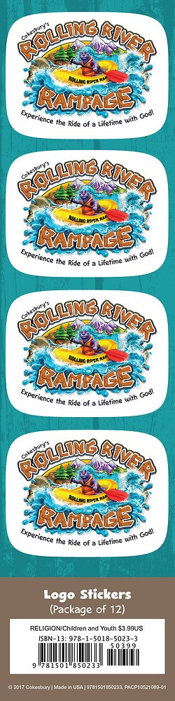 VBS 2018 Rolling River Rampage Logo Stickers