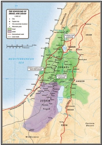 The Kingdoms Of Israel And Judah Map