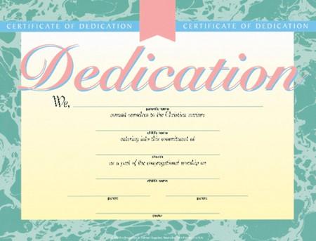 Dedication Certificate (Pack of 6)
