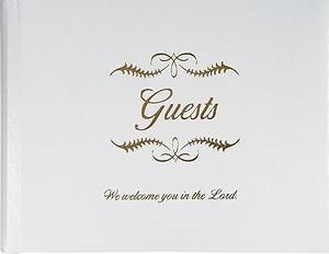 Guest Book, White Bonded Leather