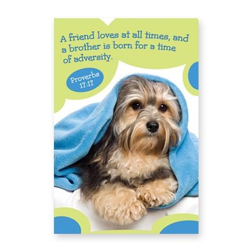 Memo Pad Cute Puppy Proverbs 17:17