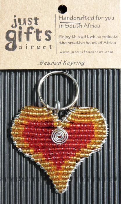 Beaded Red Heart Keyring