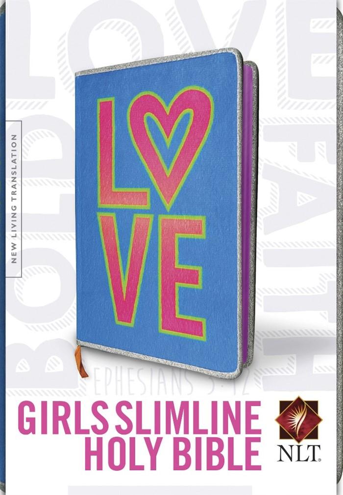 NLT Girls Slimline Bible Neon Love