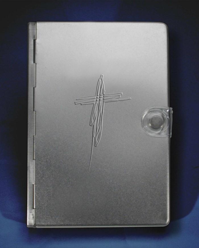 NLT Metal Bible: Silver Cross