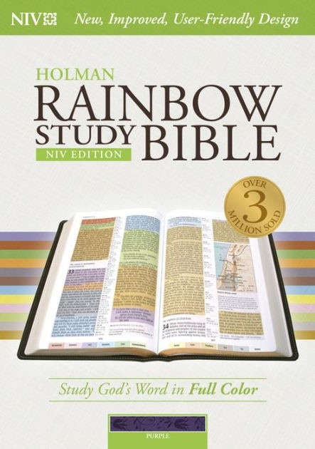NIV Rainbow Study Bible, Purple Leathertouch, Indexed