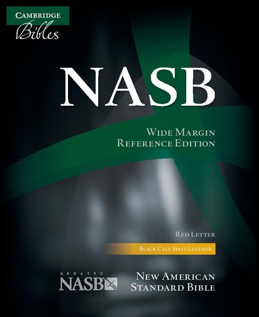 NASB Wide Margin Reference Bible, Black Calfsplit Leather