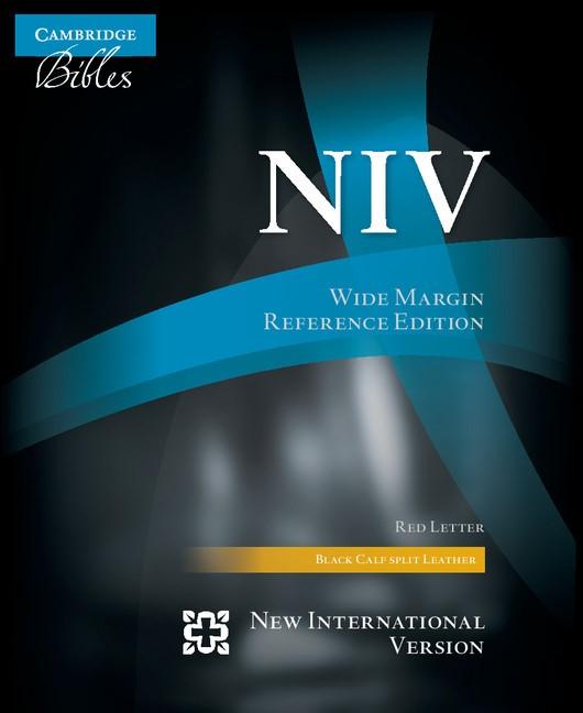 NIV Wide Margin Reference Bible, Black Calfsplit Leather