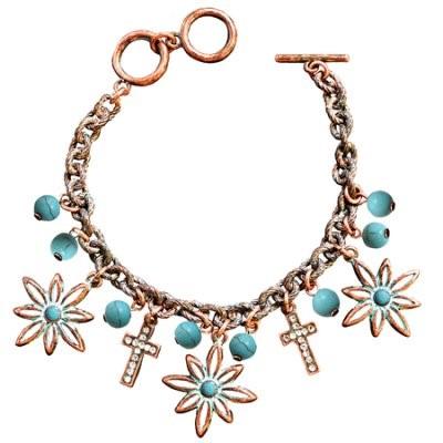 Faith Gear Women's Bracelet - Flower Cross Copper