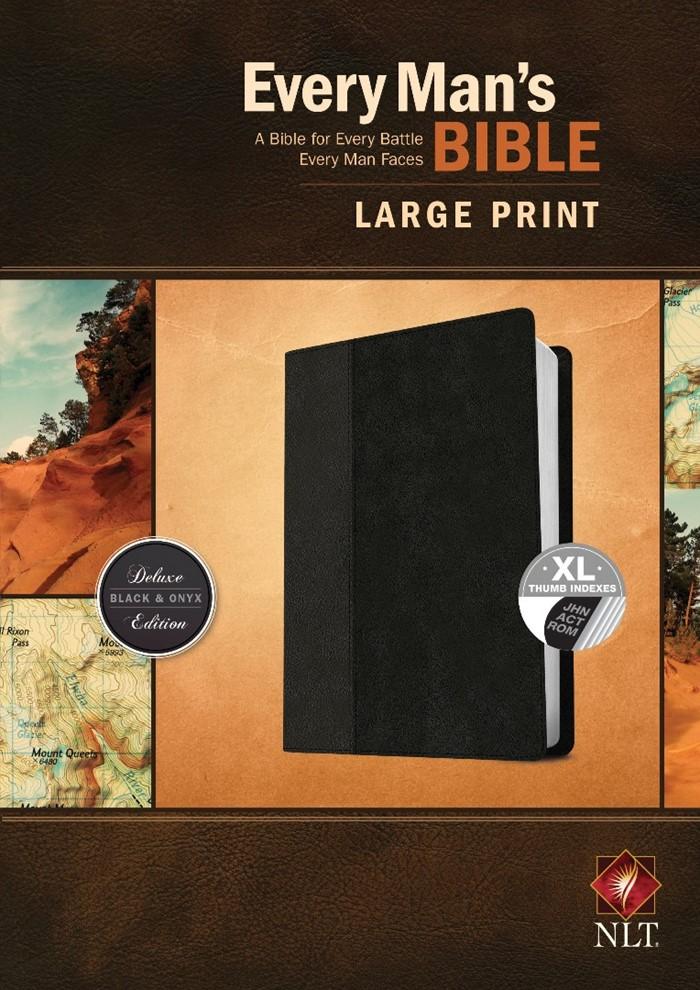 NLT Every Man's Bible, Large Print, Black/Onyx, Indexed