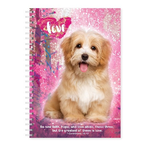 Wire-O-Hard Cover Journal Puppy Corinthians 13:3