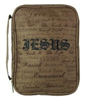 Canvas Bible Cover Large, Names Of Jesus, Brown