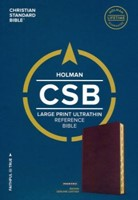 CSB Large Print Ultrathin Reference Bible, Brown Leather