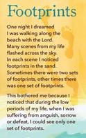 Prayer Card Footprints  (double sided)