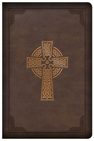 CSB Large Print Compact Reference Bible, Celtic Cross Brown (Imitation Leather)