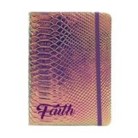Iridescent Faux Crocodile Journal Faith (Hard Cover)