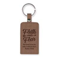 Leather Lux Keyring Faith Over Fear