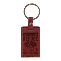Lux Leather Keyring: God Is Our Refuge & Strength