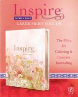 NLT Inspire Catholic Bible Large Print (LeatherLike, Pink Fi