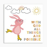With God All Things (Rabbit) White Framed Print 8x8 (General Merchandise)